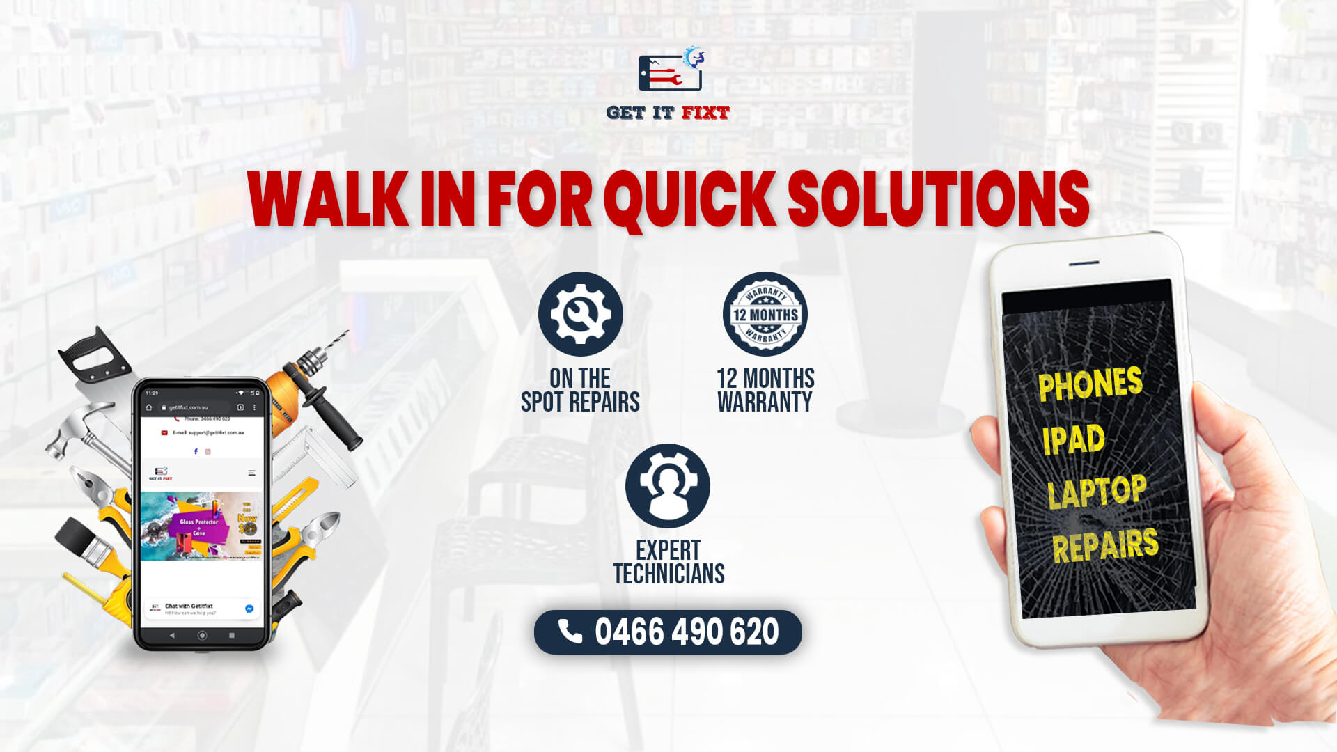 Walk in for quick services   On the spot repairs